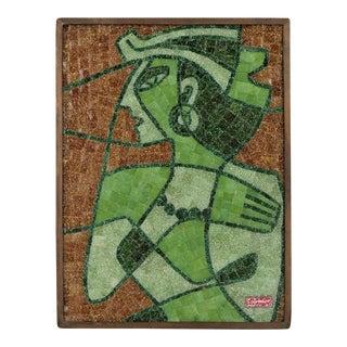 1961 Salvador Teran Glass Mosaic Tile Wall Sculpture of Egyptian Queen Nefertiti Mid Century Modern MCM