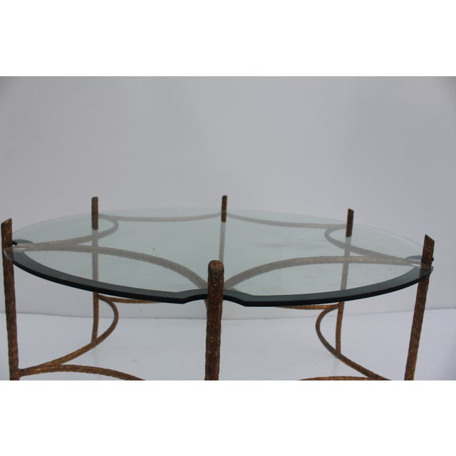 Italian Solid Brass Faux-Bois Base Coffee Table - Image 4 of 10