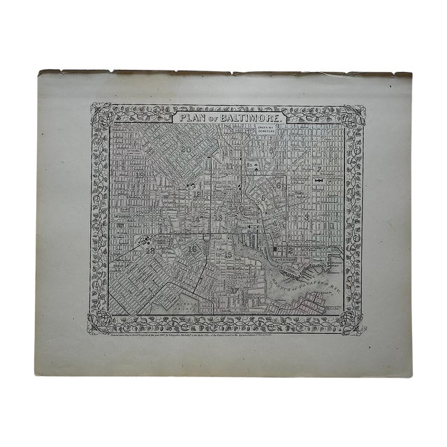 Baltimore Antique Map Lithograph - Image 1 of 3