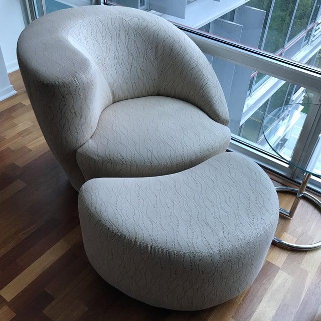 Kagan Style Swivel Chairs & Ottoman - Set of 3 - Image 3 of 4