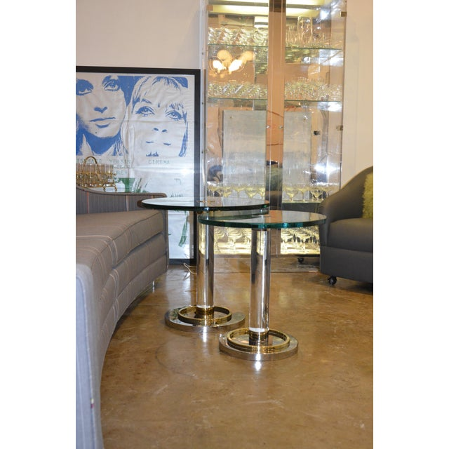 Image of Two Lucite, Brass and Chrome Charles Hollis Jones Occasional Side Tables