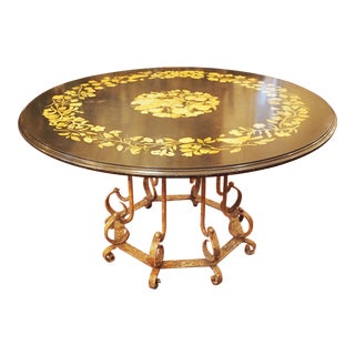 Inlaid Stone Top Circular Dining Table