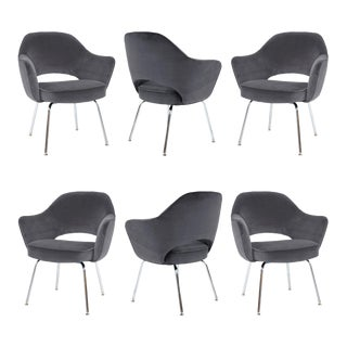 Saarinen Executive Armchairs in Gunmetal Grey Velvet, Set of Six