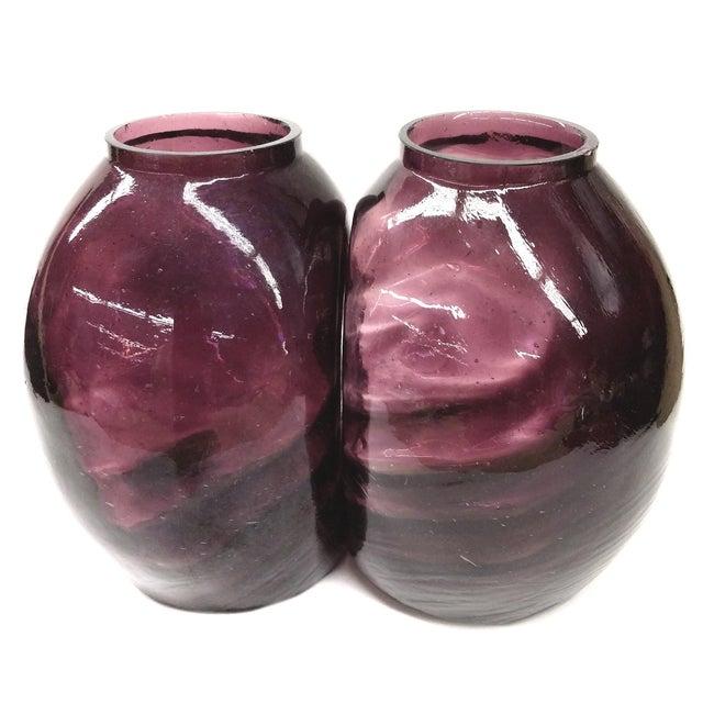 Twin Vintage Amethyst Glass Vases Heather Plum - 2 - Image 1 of 10
