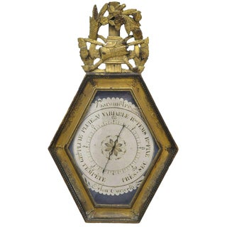 18th Century French Louis XVI Carved Gold Leaf Hexagonal Barometer