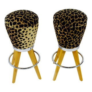Leopard Skin Fabric & Maple Bar Stools- A Pair