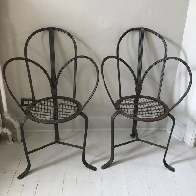 Crate & Barrel Iron Chairs - A Pair - Image 5 of 7