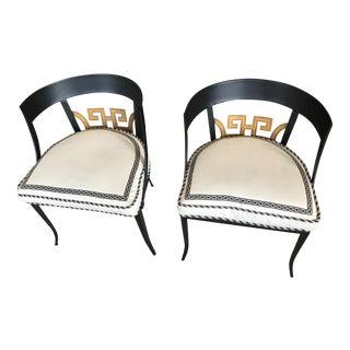 Art Deco Black & Gold Metal Chairs - A Pair