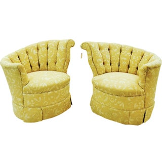 Art Deco Tufted Swirl & Slope Club Chairs - A Pair