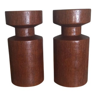 Danish Teak Wood Candle Holders - Set of 2