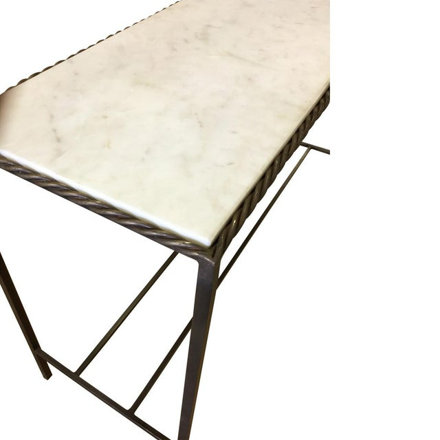 Metal Rectangular White Marble Top Console Table - Image 3 of 3