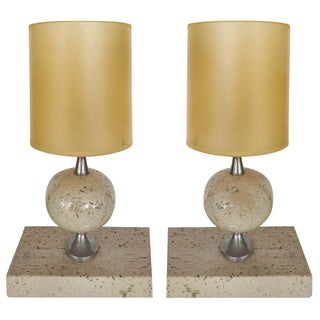 Philippe Barbier Travertine Lamps - A Pair