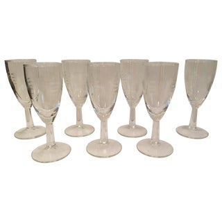 Mid-Century Etched Champagne Flutes - Set of 7