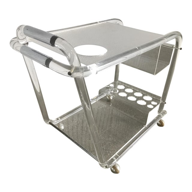 Charles Hollis Jones Mid-Century Modern Lucite Bar Cart - Image 1 of 8