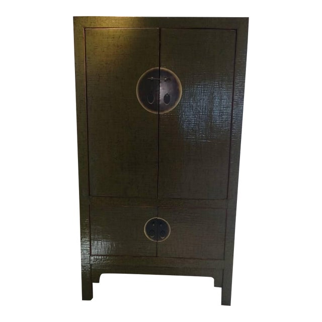 Image of Green Lacquer Asian Antique Armoire