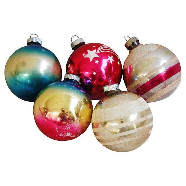 Image of 1960s Bright Christmas Ball Ornaments - Set of 12