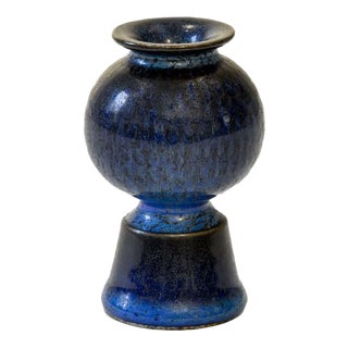 Blue vase by Stig Lindberg for Gustavsberg
