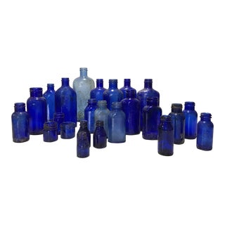 Antique Cobalt Apothecary Bottles - Set of 24