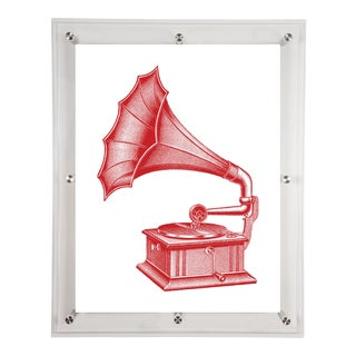 Mitchell Black Home Acrylic Framed Red Phonograph Print