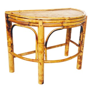 Vintage Half Moon Bamboo Plant Stand