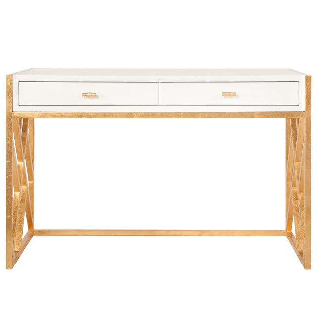 Worlds Away White Lacquer & Gold Leaf Lattice Desk - Image 2 of 3