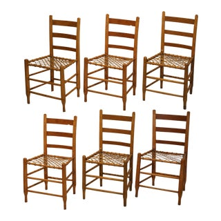 19th C. Handmade Wood & Rawhide Dining Chairs - Set of 6