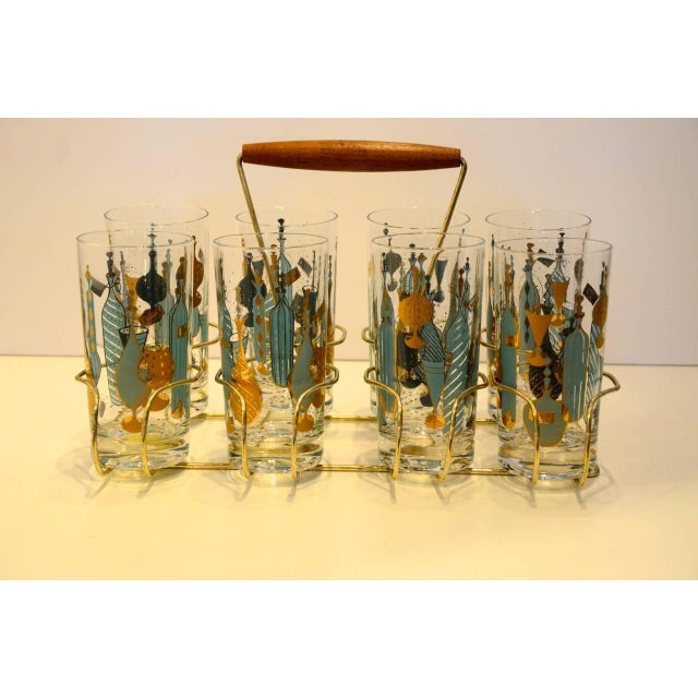 Eight Mid-Century Tom Collins Glasses with Exotic Barware Decoration and Caddy - Image 5 of 5