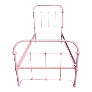 Antique Pink Iron Twin Bedframe