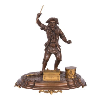19th Century French Figural Bronze and Gilt Inkstand