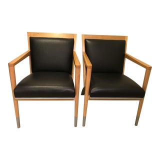 Vintage Leather & Wood Cabot Wrenn Chairs - A Pair