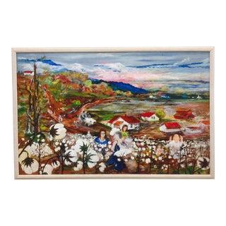 Vintage Cotton Original Folk Art Painting