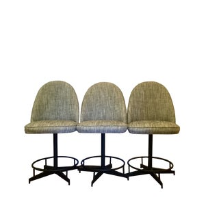 Vintage Upholstered Bar Stools - Set of 3