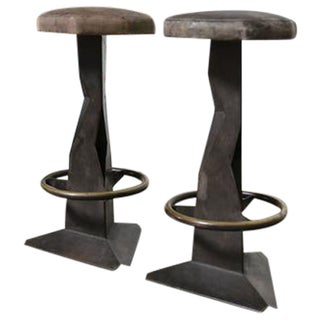 Pair of Patinated Brass Sculptural Barstools