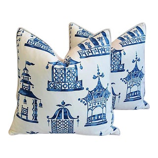 "24"" Custom Tailored Blue & White Chinoiserie Pagoda Feather/Down Pillows - Pair"
