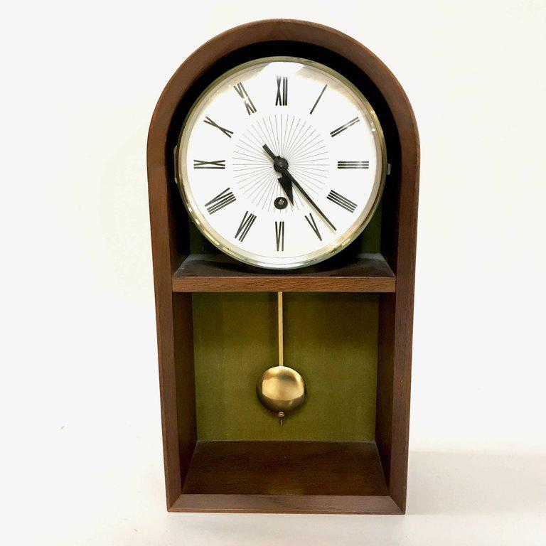 midcentury walnut howard miller pendulum clock image 2 of 10