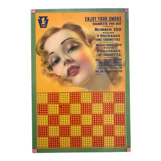 Vintage 1940s Gaming Punchboard