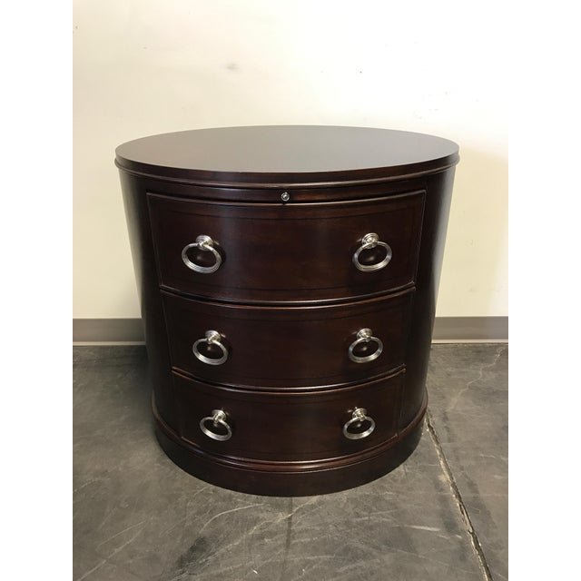 Contemporary Oval Mahogany 3-Drawer Bachelor Chest - Image 2 of 11