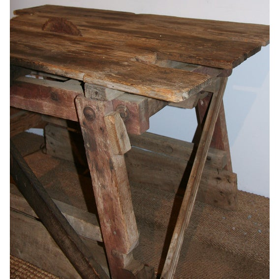 Antique Primitive Saw Table and Side Table - Image 4 of 6