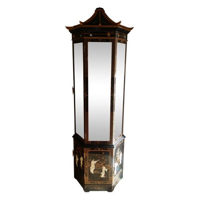 Oriental Curio Black Lacquer Cabinet Chairish