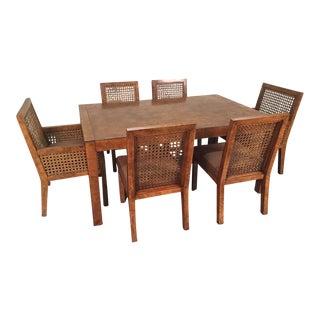 John Widdicomb Mid-Century Burled Olivewood Dining Set