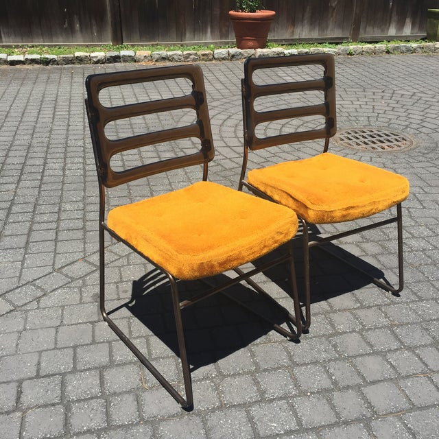 Mid-Century Chrome Craft Amber Lucite & Orange Chairs - A Pair - Image 4 of 10
