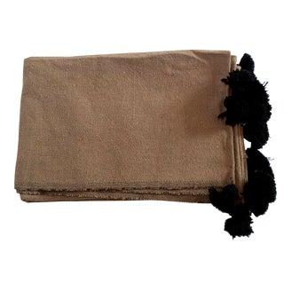 Moroccan Herringbone Pom Pom Throw Blanket
