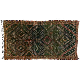 Green Beni Ouarain Moroccan Rug, 6'5x12'4
