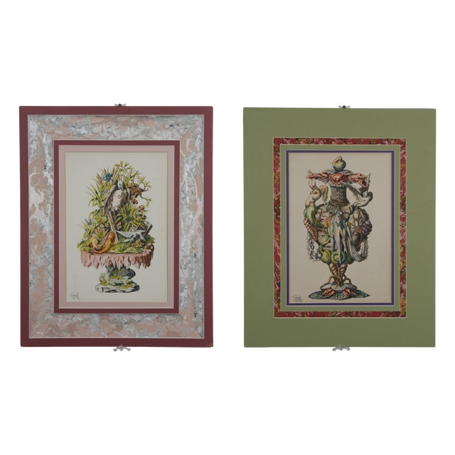 1866 Hand Painted Fantasy Botanicals - Pair - Image 1 of 9