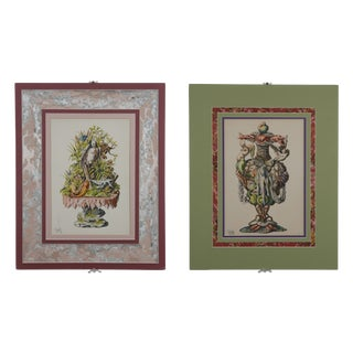 1866 Hand Painted Fantasy Botanicals - Pair