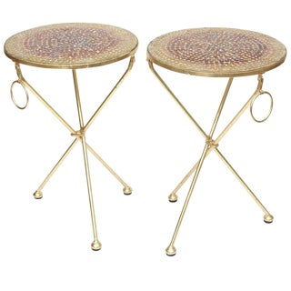 Pair of Italian Vintage Gold Leaf and Mosaic Glass Tripod Side Tables