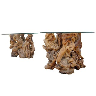 Burled Wood & Glass Side Tables - A Pair