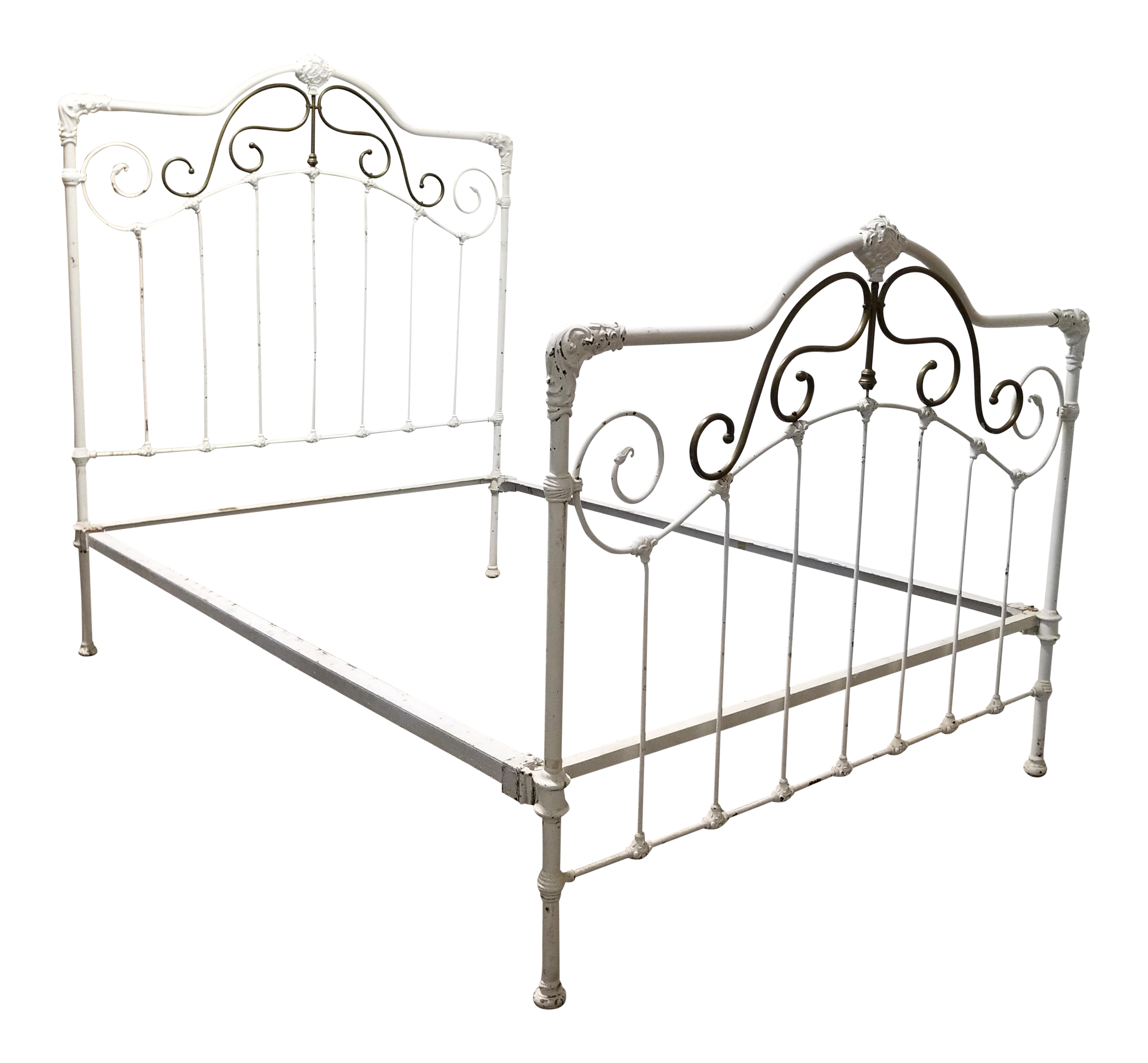 antique white victorian cast iron brass shabby chic bed set