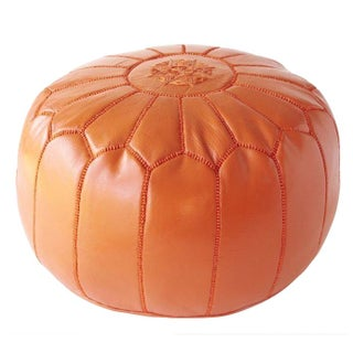 Moroccan Leather Pouf Ottoman in Orange