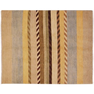 "Hand-Knotted Gabbeh Striped Rug - 5'3"" x 6'5"""